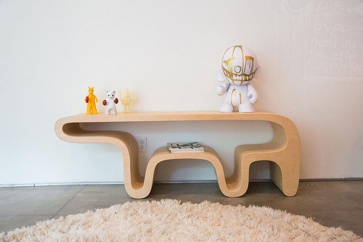 Contemporary bear table and bench for Garcia s jewelry bench