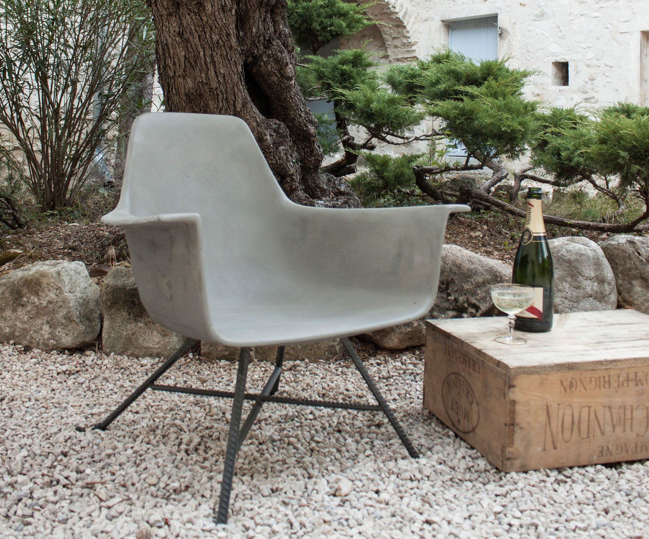 Cement Arm Chairs ~ Laid back concrete armchairs