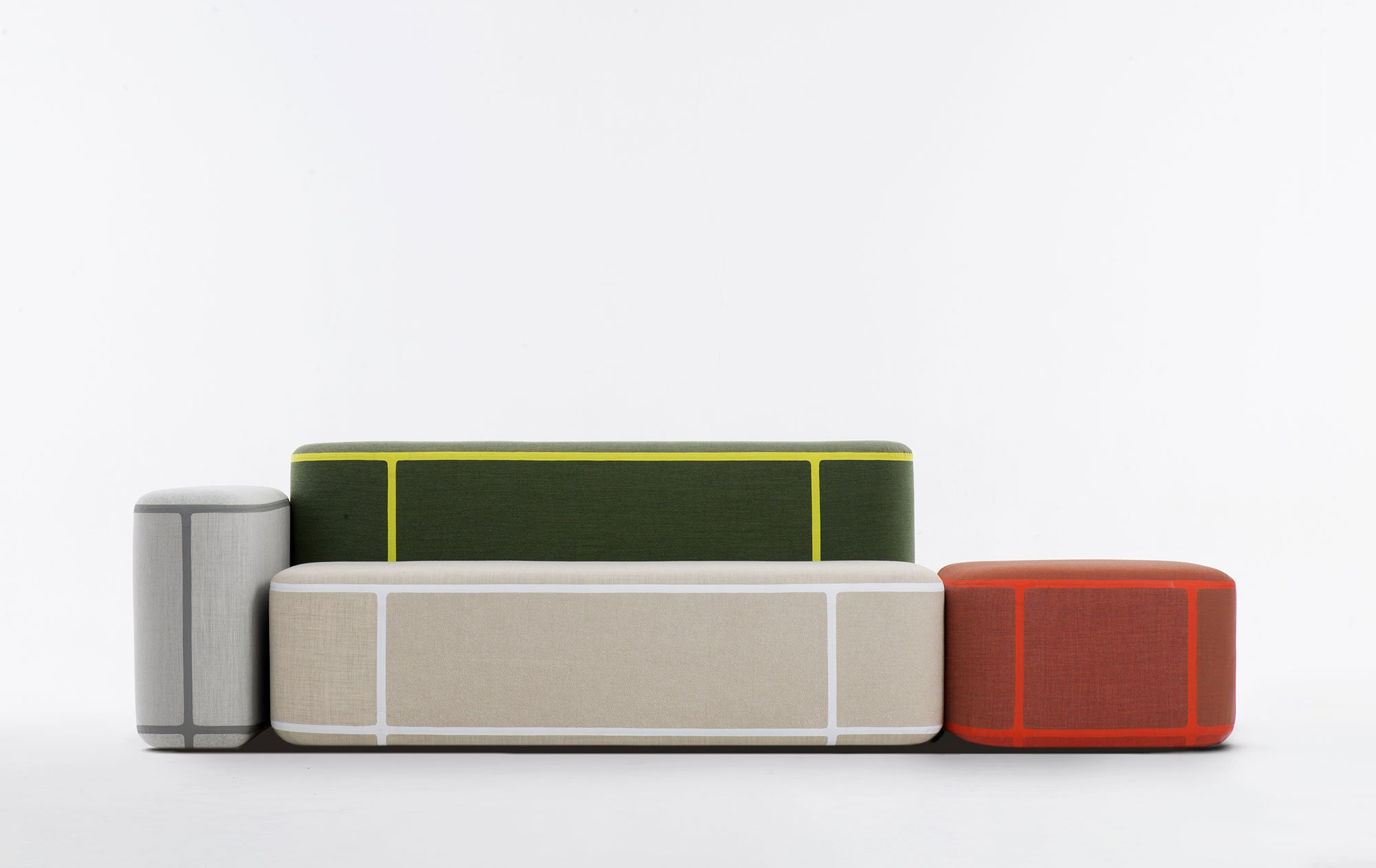 ... The Sofa Boasts Kvadrat Upholstery In A Variety Of Neutral And Brighter  Colors. Thin Strips Of Contrasting Tape Highlight The Shape Of The Modules  While ...
